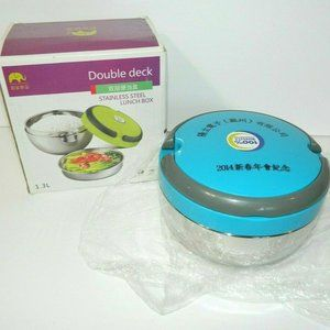 Round Double Decker Stainless Steel Lunch Box